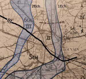 Gedeeltelijke opstellingsschets van de 10Div te Leuven op 10 mei met vermelding van de ondersectoren van 5J en 6J. 3J staat meer naar het noorden opgesteld (projectie op originele stellingsschets van mei 1940).