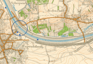 Brug Eigenbilzen en ligging bunkers. Op de kaart is duidelijk de asverschuiving te zien bij de aanleg van de brug te Eigenbilzen (projectie op kaart van 1939)