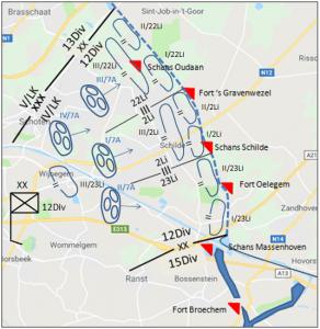 Opstelling van de 12Div tussen het Kanaal Dessel-Turnhout-Schoten en het Albertkanaal ten zuidoosten van de VPA