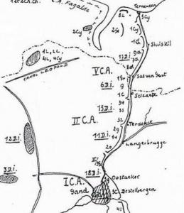 Opstelling van legerkorpsen en divisies te noorden van Gent op 20 mei 1940.