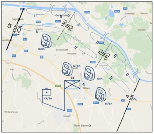 Opstelling van de 4Div aan de vooravond van de oorlog