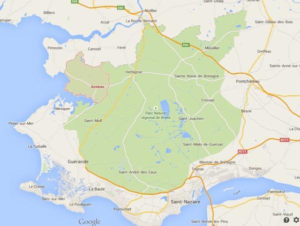 Streek rond Saint-Nazaire waar 2C werd ingehaald door de vijand