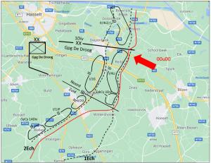 Situatie op de rechterflank van de 1Div bij het begin van de dag op 12 mei (projectie op recente kaart).