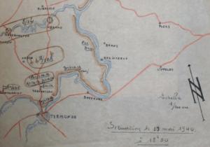 Opstelling van 1JP achter de Schelde op 19 mei 40 (originele schets uit dossier 2CD)