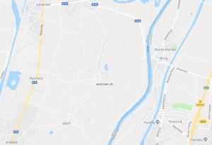 Operatiegebied van het peloton van Adjt KROLt de Moffarts rond bunker A24 (projectie op recente kaart)