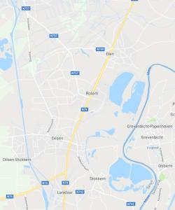 Operatiegebied van het peloton van OLt Dupont rond bunker A23 (projectie op recente kaart)