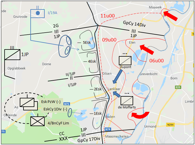In de zone van het CK starten de vijandelijkheden om 05u00 in het bataljonsvak van de GpCy 14Div en de ondersector van 1JP