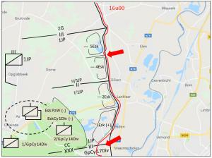 Tijdens de namiddag van 10 mei slaagt de vijand erin te Vucht, op de limiet tussen 1JP en Gp Cy 17Div, een bruggenhoofd te slaan.