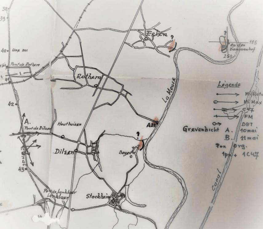 Operatiegebied van het peloton van OLt Dupont rond bunker A23 (originele schets)