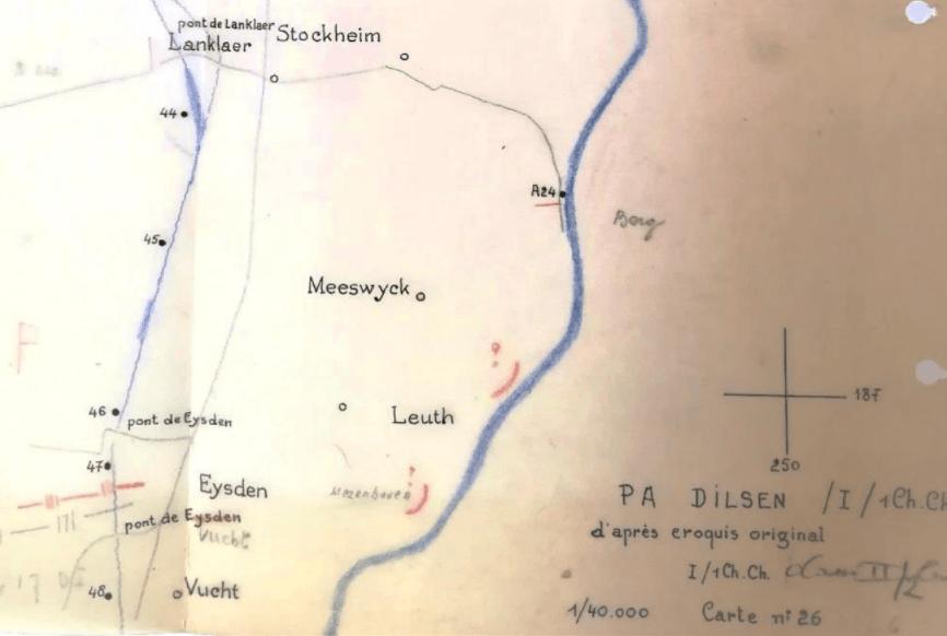 Operatiegebied van het peloton van Adjt KROLt de Moffarts rond bunker A24 (originele schets))