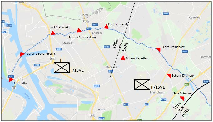 Steunpunten van het Iste en het IIde Bataljon ten noorden van Antwerpen