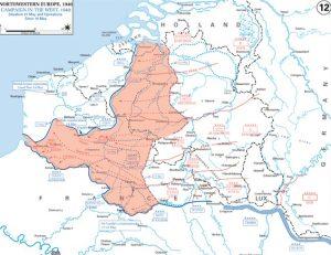 Duitse opmars tussen 16 en 20 mei. In de nacht van 20 op 21 mei wordt de Franse kust bereikt.