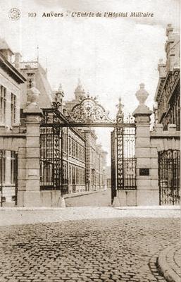 Ingang Militair Hospitaal Antwerpen aan de Marialei.