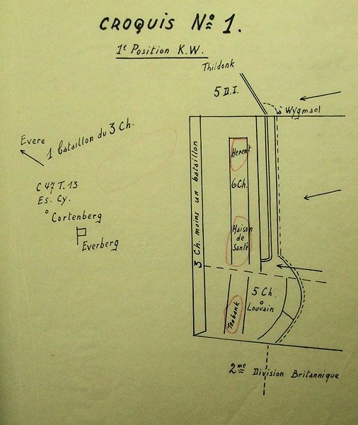 Opstelling van 10Div op 11 mei 1940 na overname van de ondersector van 3J door de 5Div (bron: CDH).