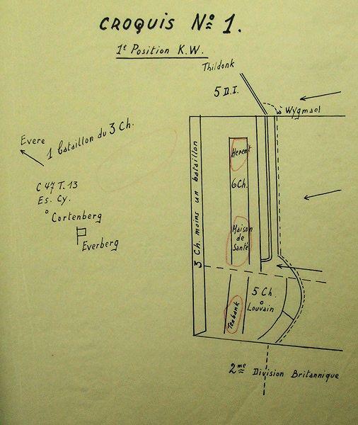 Opstelling van 10Div op 11 mei 1940 na aflossing van 3J door de 5Div.
