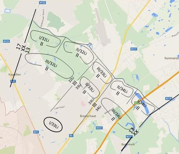 Opstelling van de 13Div langs de anti-tankgracht op 10 mei 1940 (projectie op recente kaart).