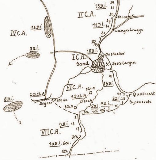 Opstelling van de 10de Infanteriedivisie aan de Bovenschelde (bron: CDH).