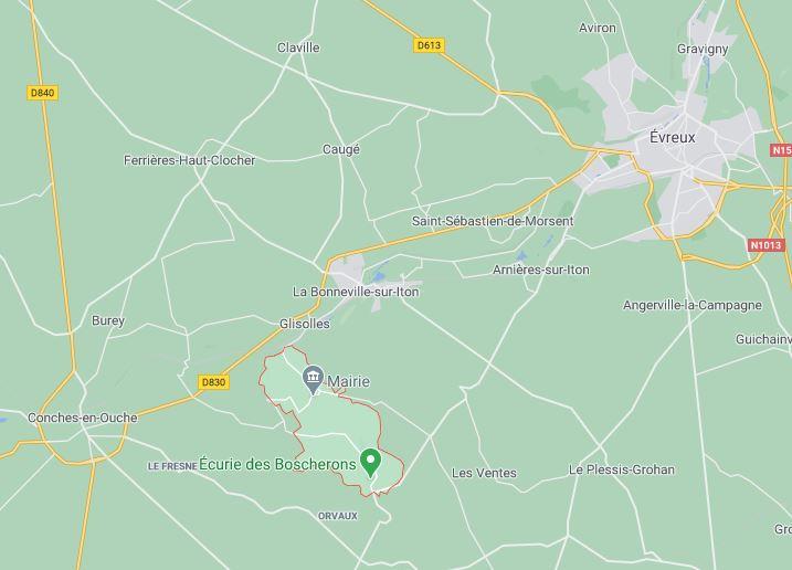 Gaudreville-la-Rivière ten oosten van Conches, hergroeperingszone van 20A ten zuiden van de Seine.