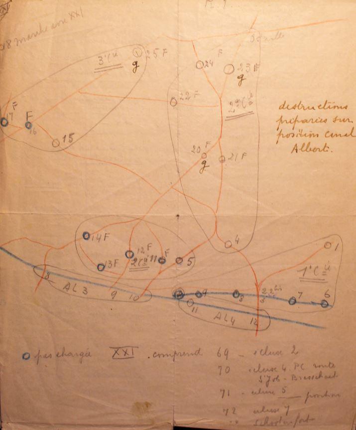 Actiegebied van de drie compagnies van het 22Gn op 10 mei 1940.