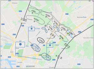 Opstelling 26A op 10 mei 1940 (projectie op recente kaart)