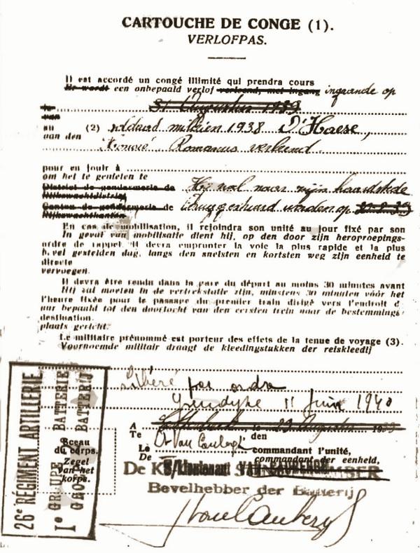 Verlofpas van 11 juni 1940 waarmee telefonist-seingever (TS) Honoré d'Haese naar zijn woonplaats mocht terugkeren na het einde van de veldtocht.