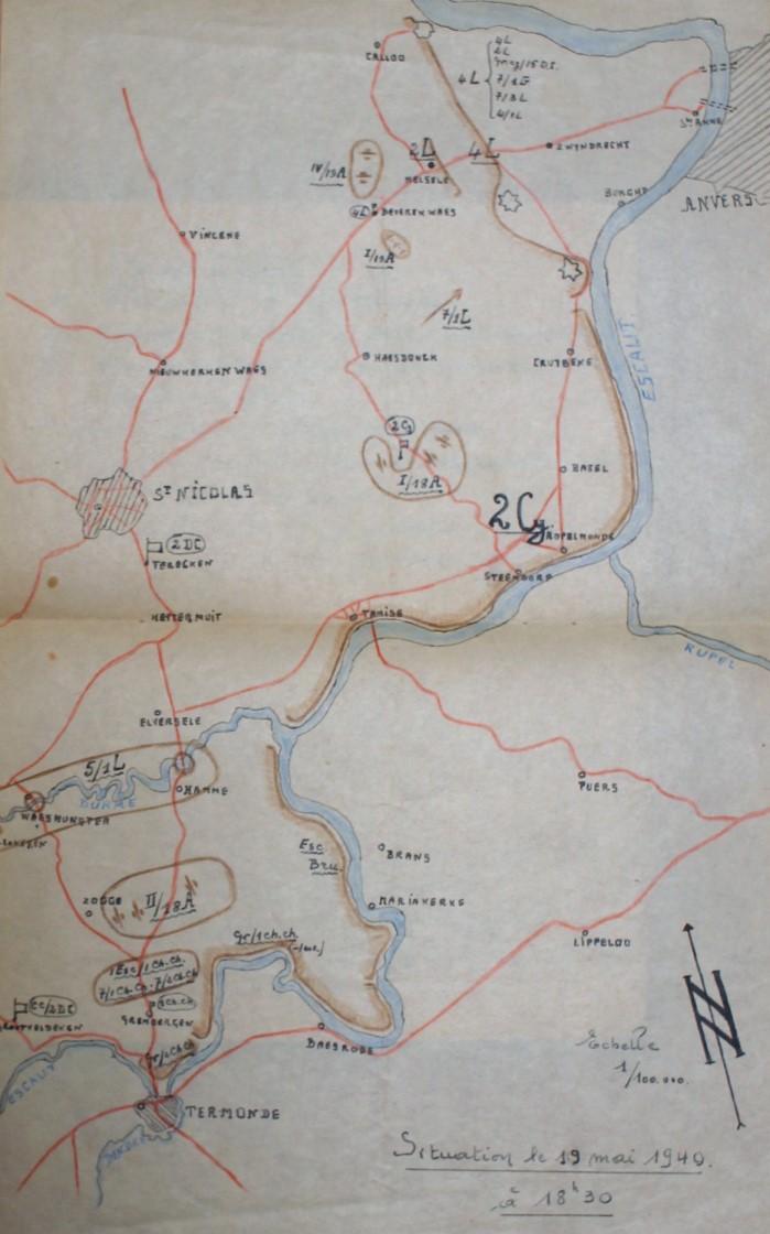 2de Cavaleriedivisie op 19 mei 1940 rond 18u30