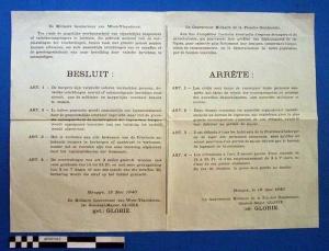 Affiche met richtlijnen voor de bevolking met betrekking tot het rapporteren van de landing van vijandelijke parachutisten.