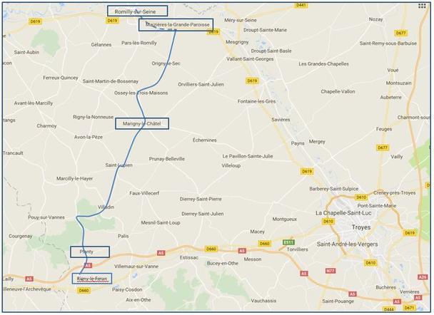 Reisweg afgelegd door de 1Cie van II/32A van 13 mei 21u00 en 14 mei 19u00.