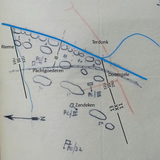 Opstelling van 32Li op 21 mei tussen Terdonk in het zuiden en Rieme in het noorden. I/32Li en III/32Li staan opgesteld in eerste lijn, II/32Li staat opgesteld in 2de Echelon. (Bron velddagboek 13Div, schets ontvangen van 32Li op 26 mei 1940).