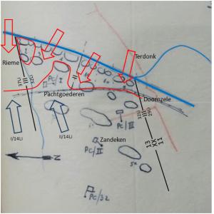 Toestand in de zuidelijke ondersector van de 13Div op 23 mei om 20u00 (Projectie op originele schets van mei 1940)