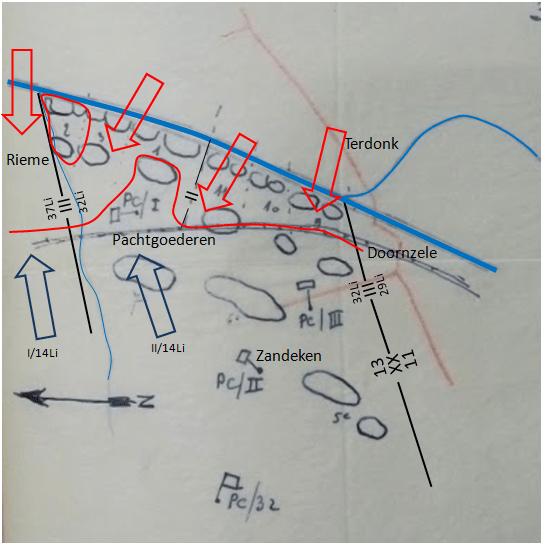 Toestand 32Li op 23 mei om 20u00 (Projectie op originele schets van mei 1940)