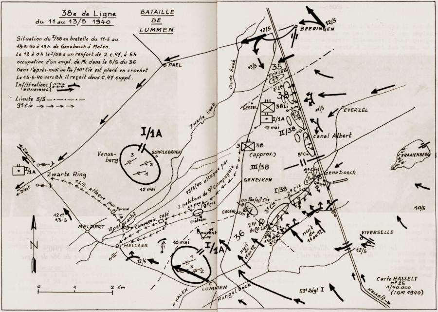Overzichtskaart van de Slag bij Lummen van 11 mei tot 13 mei 1940.