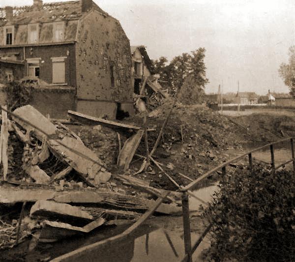 Een door de Belgische genie uitgevoerde vernieling aan de oostrand van Tienen.