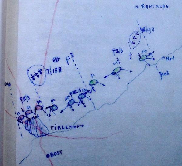 Opstelling van het 3Li de 13de mei in tweede echelon van de Demer/Gete-stelling tussen Oplinter en Tienen (originele schets van mei 1940).