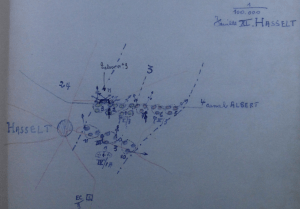 Opstelling van het 3Li ten noordoosten van Hasselt (originele schets van 10 mei 1940)