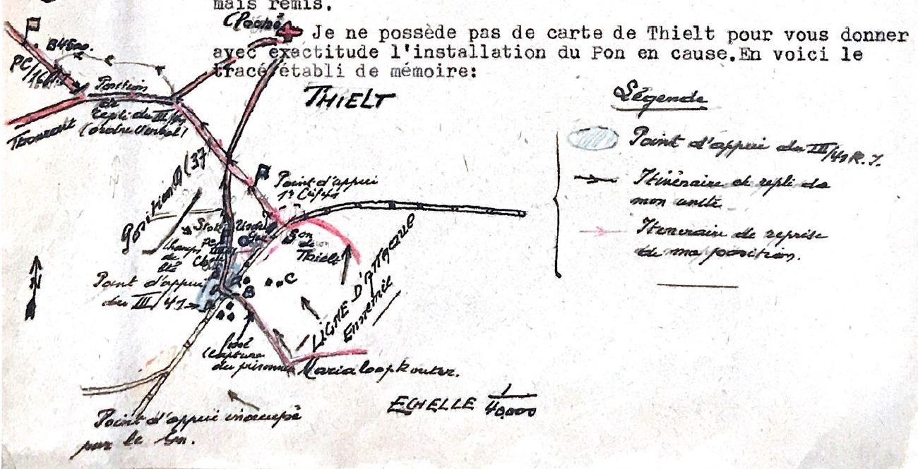 Schets van de opstelling te Tielt gemaakt door Kapitein-commandant Torfs