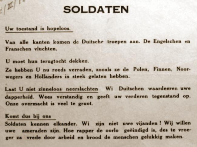 Duits vluchtschrift afgeworpen boven de sector van de 4de Infanteriedivisie op 23 mei.