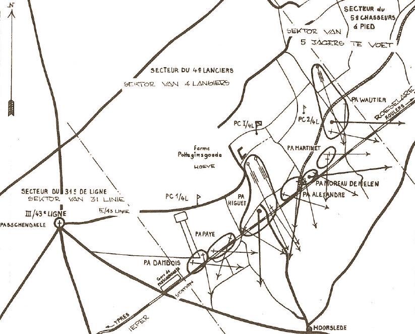 Definitieve opstelling van de Iste Groep van het 4L bij de aanvang van de gevechten nabij Passendale.