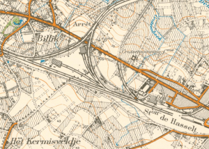 Spoorwegdriehoek Genk - Hasselt - Diest met de twee bruggen over de N2 waar op 12 mei twee T13 tijdens een gevecht werden uitgeschakeld (projectie op kaart van 1938).