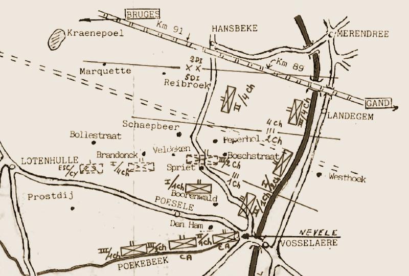 Aanpassingen doorgevoerd op 25 mei. De posities in stippellijn werden bevolen om 11u00, na de vijandelijke doorbraak bij de naburige 4Div. De posities aangeduid met de letters CA betreffen de tegenaanval naar de Poekebeek bevolen om 21u00 door het VIde Legerkorps.