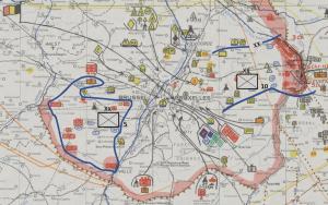 Opstelling van de reserve van het leger rond Brussel aan de vooravond van 10 mei 1940. (Projectie op kaart uit het Rijksarchief).