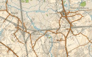 Keerdriehoek van Munsterbilzen waar een spoorwegkanon van de 4Bij stond opgesteld (kaart van 1939)