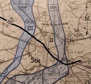 Gedeeltelijke opstellingsschets van de 10Div te Leuven op 10 mei met vermelding van de ondersectoren van 5J en 6J. 3J staat meer naar het noorden opgesteld (bron: CHD).