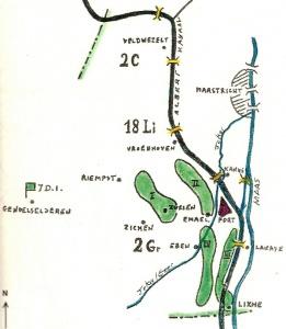 Opstelling van 2Gr op de zuidflank van de sector van de 7de Infanteriedivisie.
