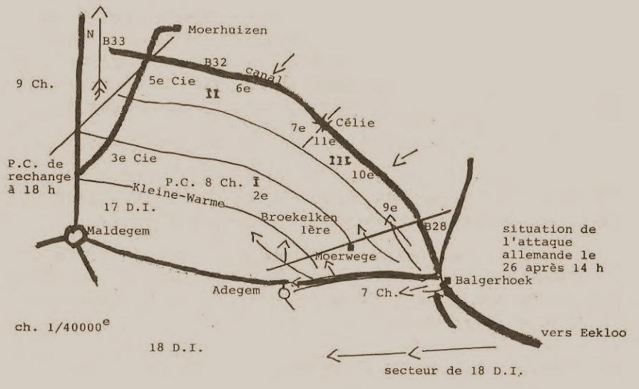 Opstelling van het 8J aan het Afleidingskanaal van de Leie tussen 23 en 26 mei 1940.
