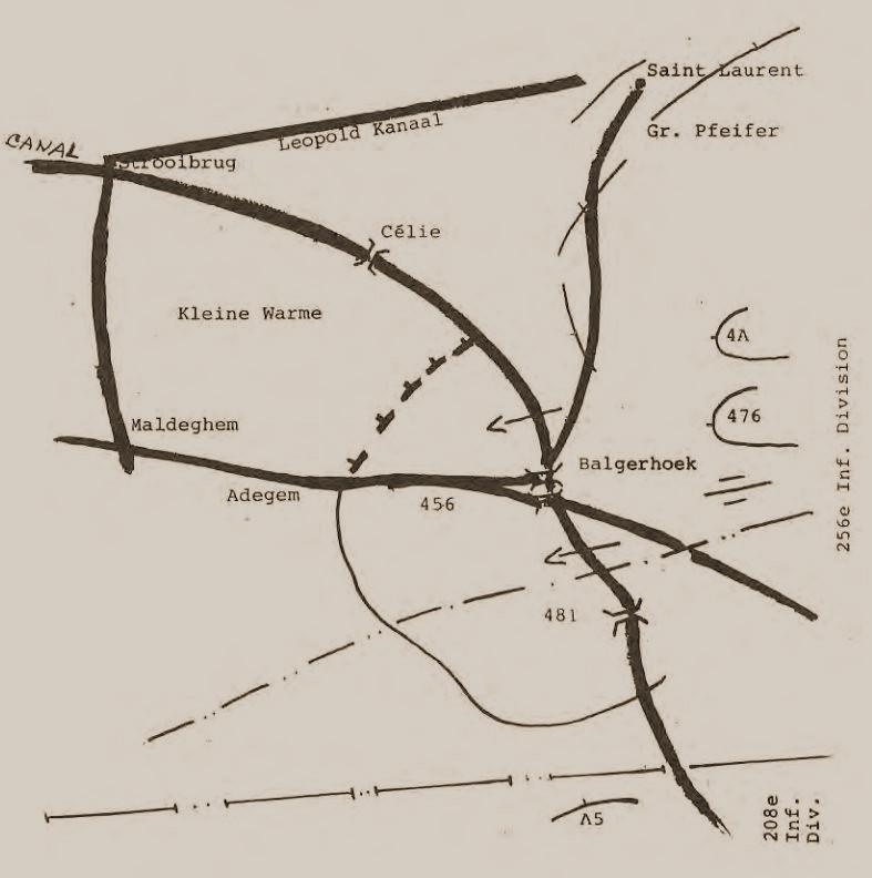 Duitse posities in de avond van 26 mei 1940.