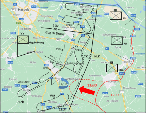 Situatie in de Ondersector Zuid van de Groepering De Droog op 11 mei om 13u30 (projectie op recente kaart).