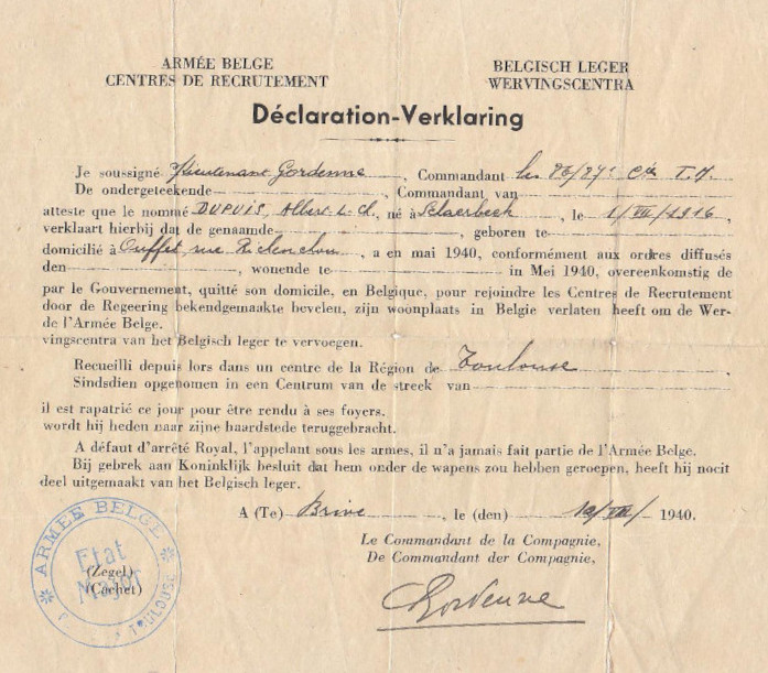 Ontslagbewijs afgeleverd aan een lid van de CRAB te Brive in augustus 1940