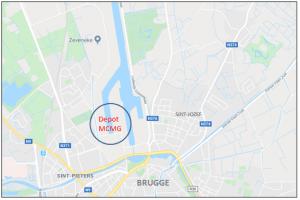 Ligging van het drijvend depot van het Magazijn voor Brandstoffen en Smeerstoffen in de haven van Brugge