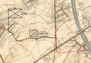 Actie van het Peloton Lancksweert nabij de brug van Vroenhoven (projectie op recente kaart)